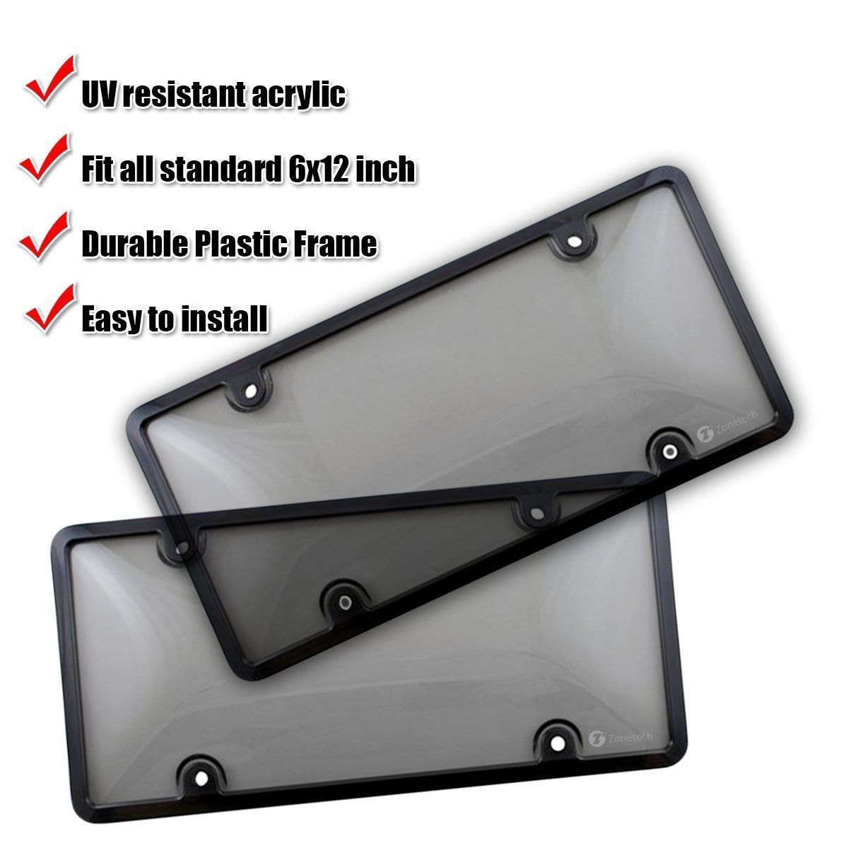 Light Tinted License Plate Shield Cover And Frame Nekkoo